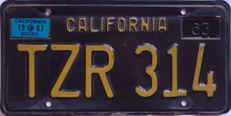 1967 California  (Single) license plate for sale