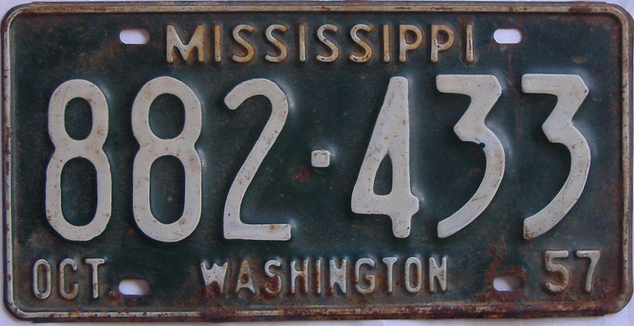 1957 Mississippi license plate for sale