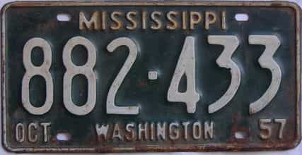 1957 Mississippi license plate for sale