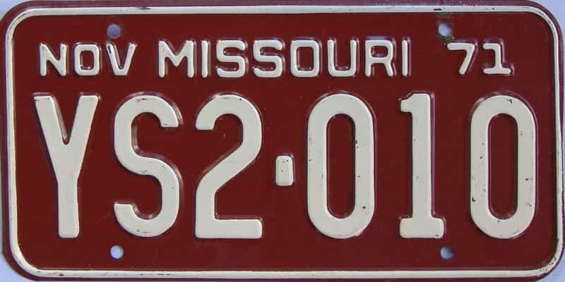 1971 Missouri license plate for sale