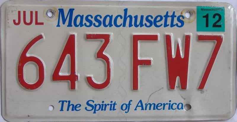 2012 MA license plate for sale