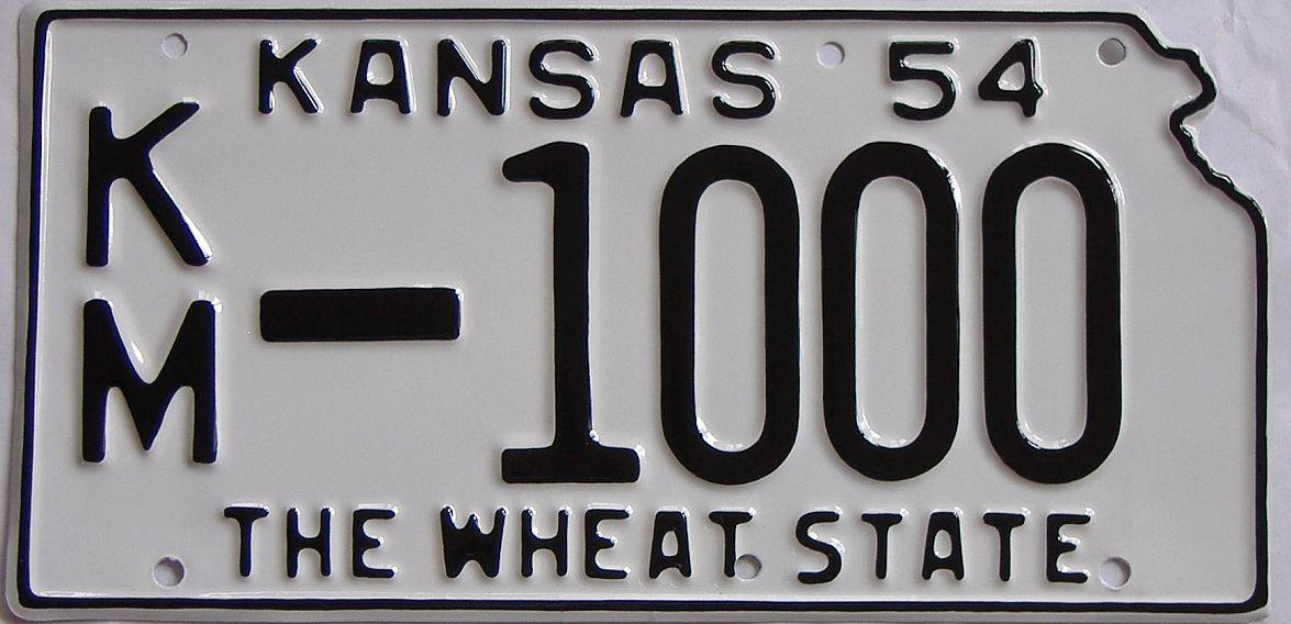 RESTORED 1954 Kansas license plate for sale