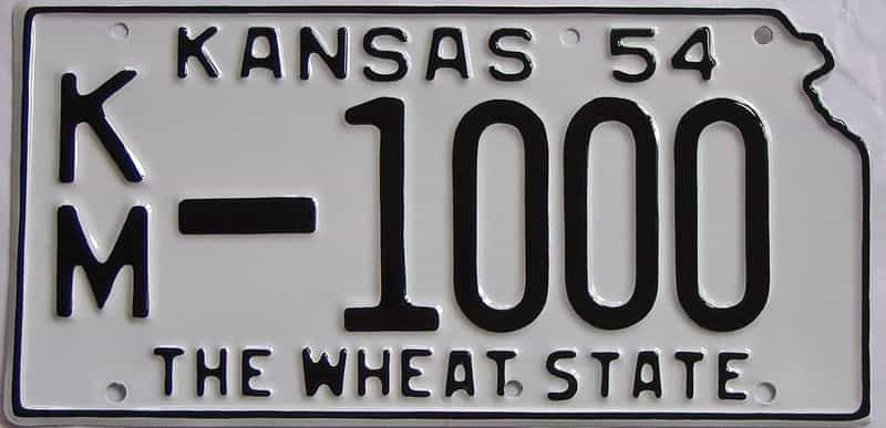 RESTORED 1954 Kansas license plate for sale