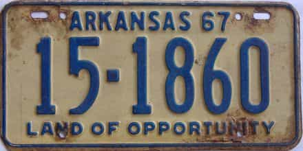 1967 Arkansas license plate for sale