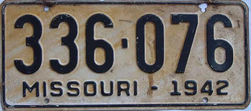 1942 Missouri license plate for sale