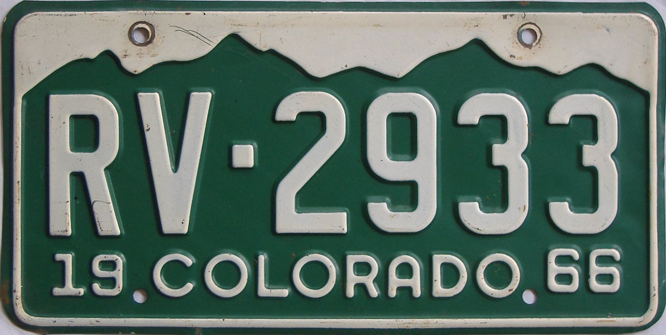 1966 Colorado (Single) license plate for sale