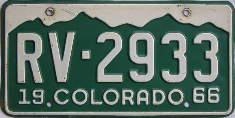 1966 CO (Single) license plate for sale