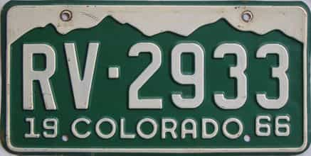 1966 Colorado (Single) license plate for sale