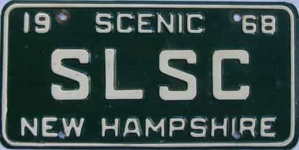 1968 New Hampshire  (Vanity) license plate for sale