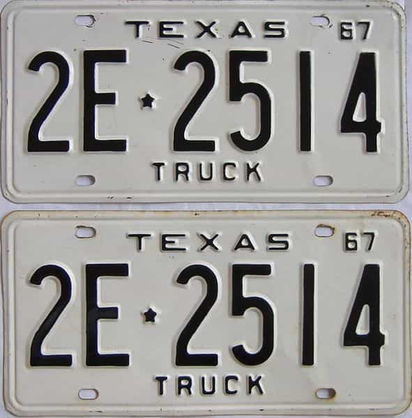 1967 TX (Truck) license plate for sale