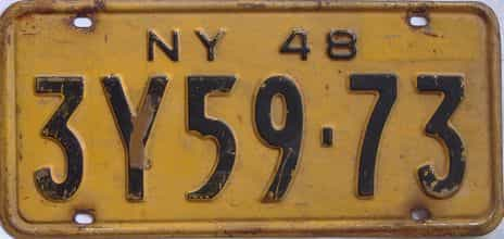1948 New York  (Single) license plate for sale
