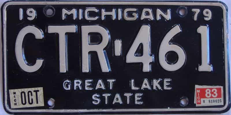 1983 Michigan  (Single) license plate for sale