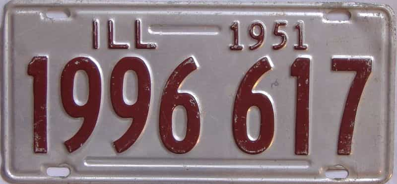 1951 Illinois  (Single) license plate for sale