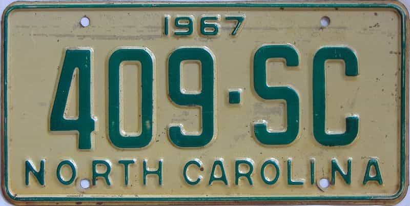 1967 NC (Truck) license plate for sale