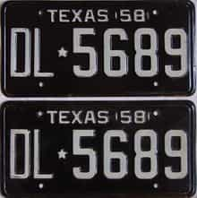 1958 Texas (Pair) license plate for sale