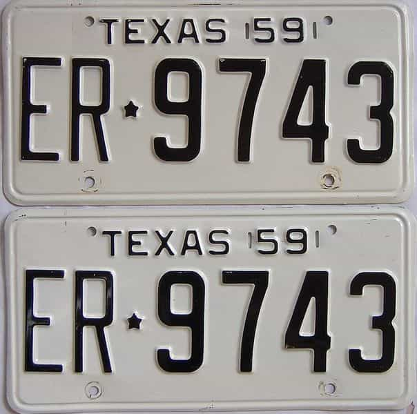 1959 TX (Pair) license plate for sale