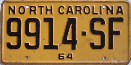 1964 North Carolina (Truck) license plate for sale