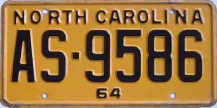 1964 North Carolina license plate for sale