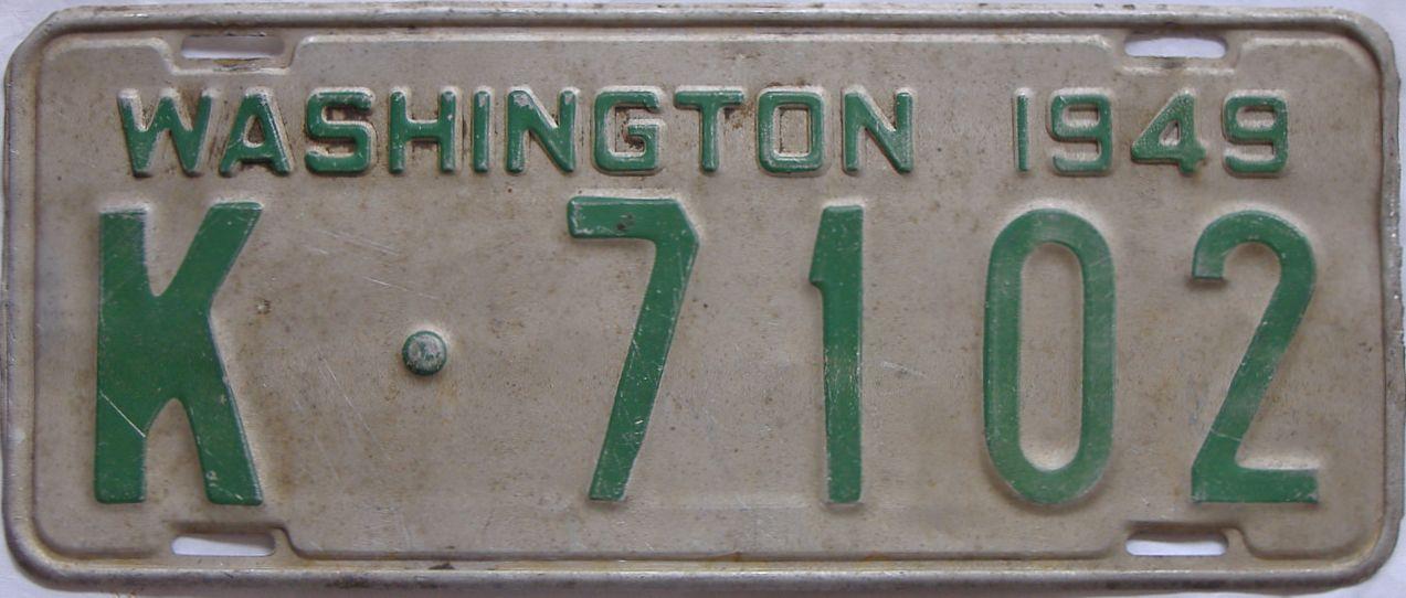 1949 Washington (Single) license plate for sale
