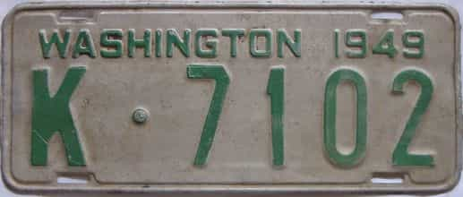 1949 Washington (Single) license plate for sale