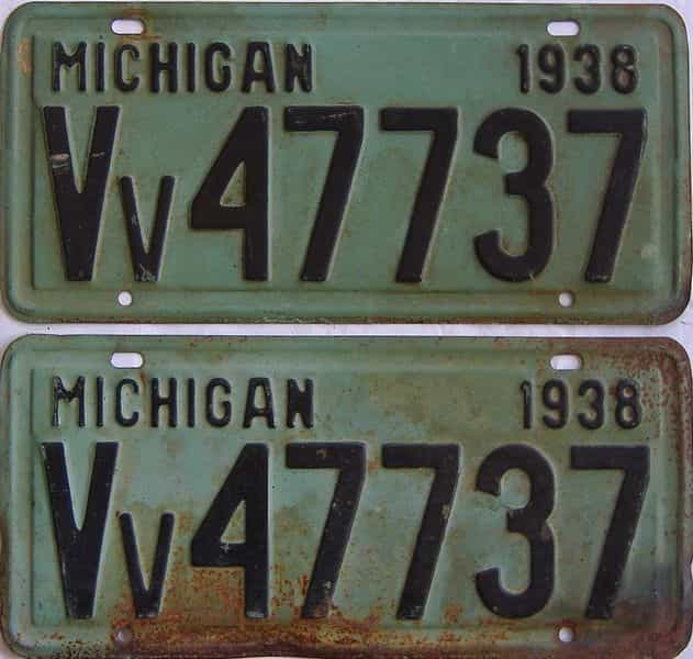 1938 Michigan (Pair) license plate for sale