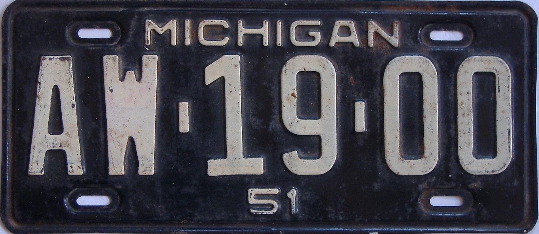 1951 Michigan license plate for sale