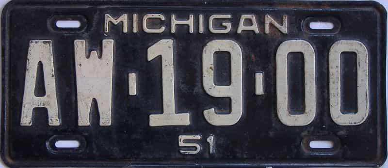 1951 MI license plate for sale