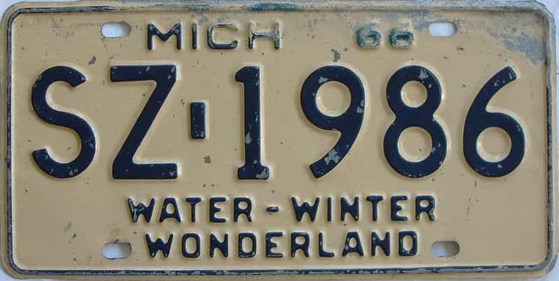1966 MI (Single) license plate for sale