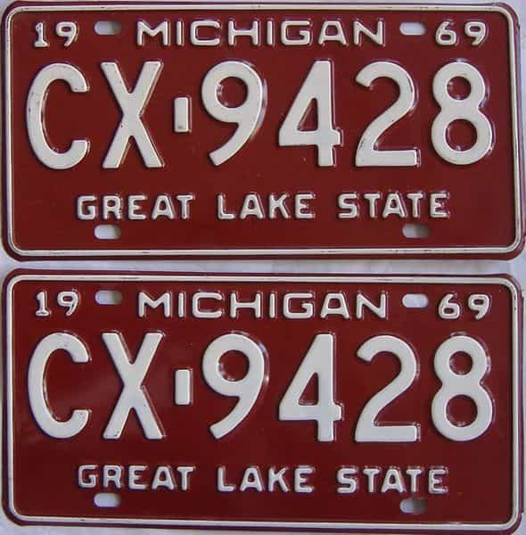 1969 MI (Pair) license plate for sale