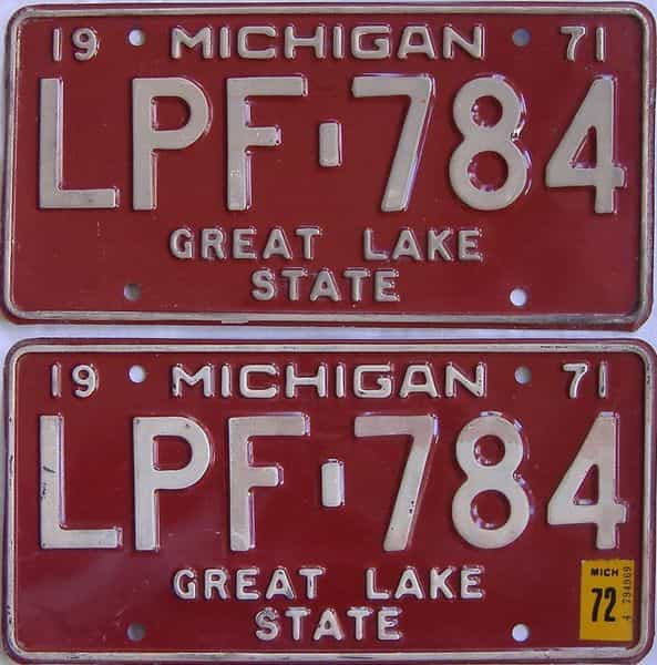 1972 Michigan  (Pair) license plate for sale