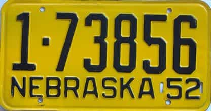 1952 Nebraska (Single) license plate for sale