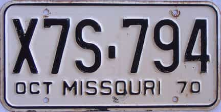 1970 Missouri license plate for sale