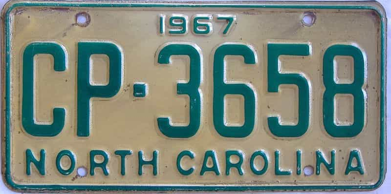 1967 NC license plate for sale