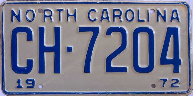 1972 NC license plate for sale