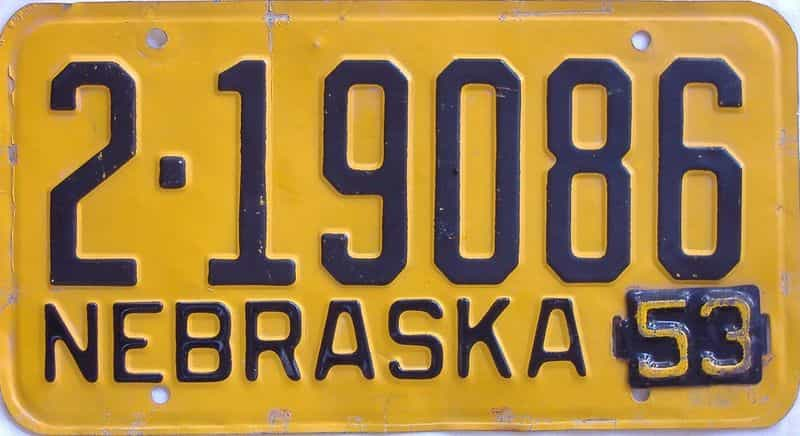 1953 NE (Single) license plate for sale