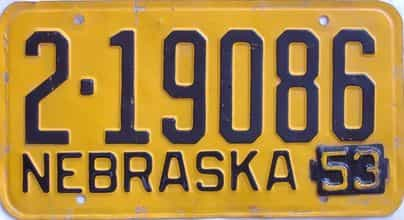 1953 Nebraska (Single) license plate for sale
