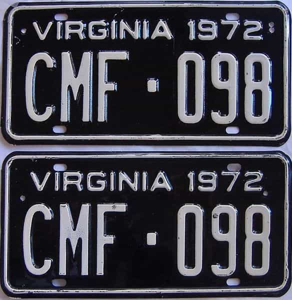 1972 VA (Pair) license plate for sale