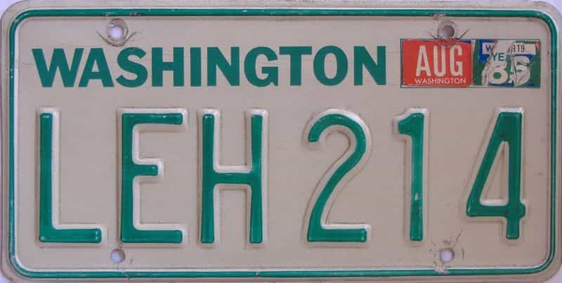 Washington (Single) license plate for sale