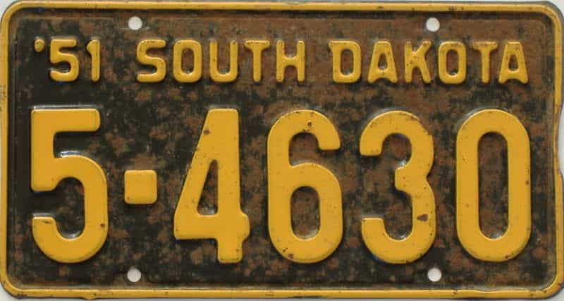 1951 South Dakota (Single) license plate for sale