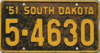 1951 South Dakota  (Single) license plate for sale