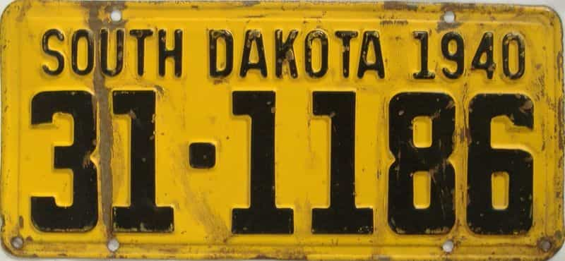 1940 South Dakota (Single) license plate for sale