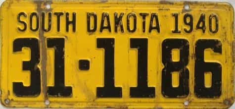 1940 South Dakota  (Single) license plate for sale