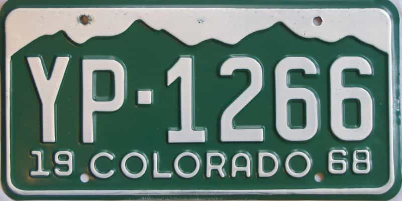 1968 Colorado  (Single) license plate for sale