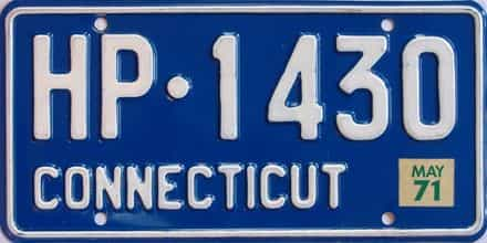 1971 Connecticut (Single) license plate for sale