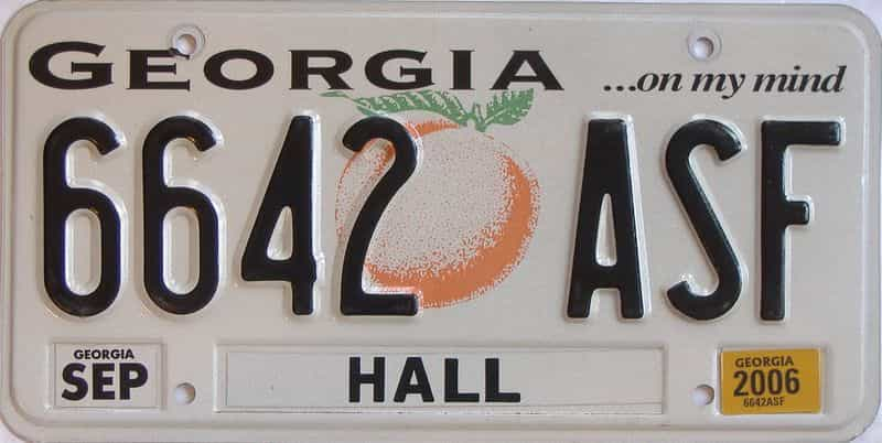 2006 Georgia license plate for sale
