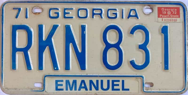 1972 GA license plate for sale