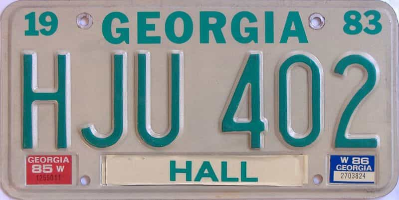 1986 GA license plate for sale