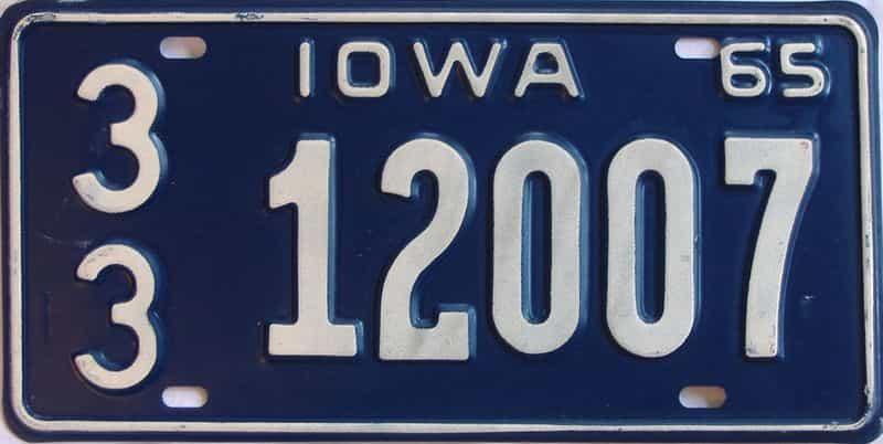 1965 IA (Single) license plate for sale