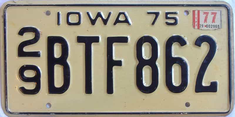 1977 IA (Single) license plate for sale