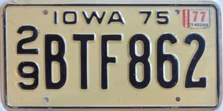 1977 Iowa  (Single) license plate for sale